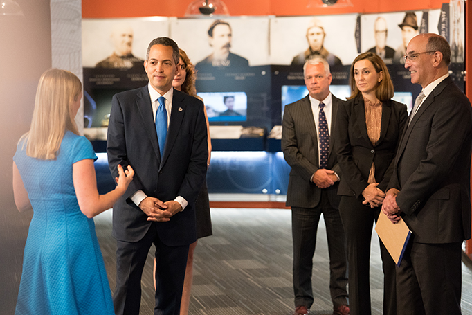 USPTO's Linda Hosler gives a tour of the National Inventors Hall of Fame museum to Deputy Secretary Graves