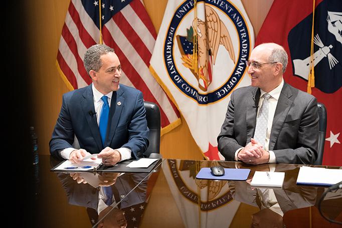 Secretary Graves met with USPTO's Drew Hirshfeld during his visit to USPTO headquarters