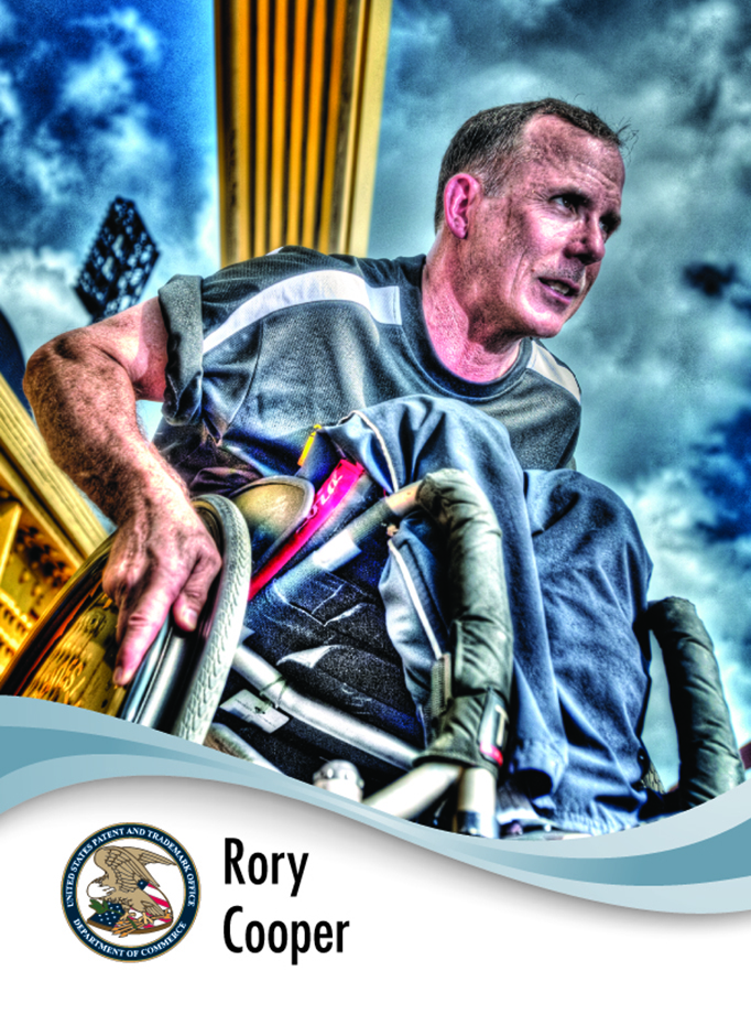 Rory Cooper's USPTO inventor collectible card depicts Cooper in a wheelchair against a blue and gray stormy background.