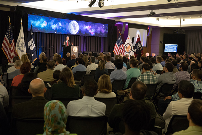 Director of the USPTO Andrei Iancu addresses the audience at the Apollo 50 event.