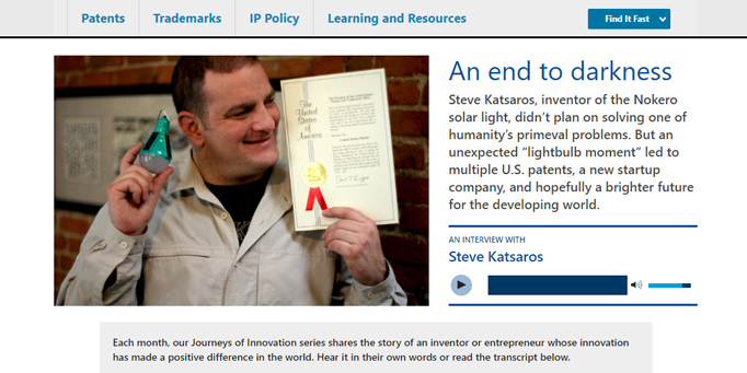 "a screenshot of the ""Journeys of Innovation"" section of the new USPTO.gov homepage."