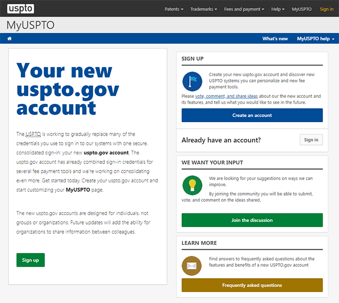 Screen shot of MyUSPTO landing page