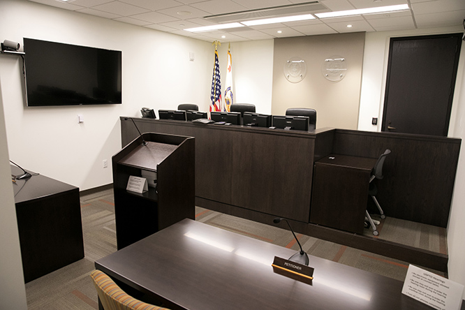 Previous configuration of the hearing room at the Rocky Mountain Regional Office