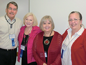 John Calvert, Barbara Russell Pitts, Mary Russell Sarao, and Cathie Kirik at the Austin Independent Inventors Conference.