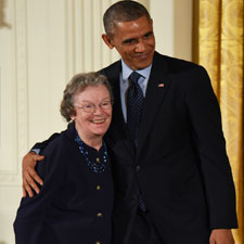 Edith M. Flanigen poses with President Barack Obama