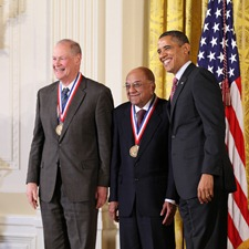 IBM Team members Rangaswamy Srinivasan and James Wynne pose with President Barack Obama