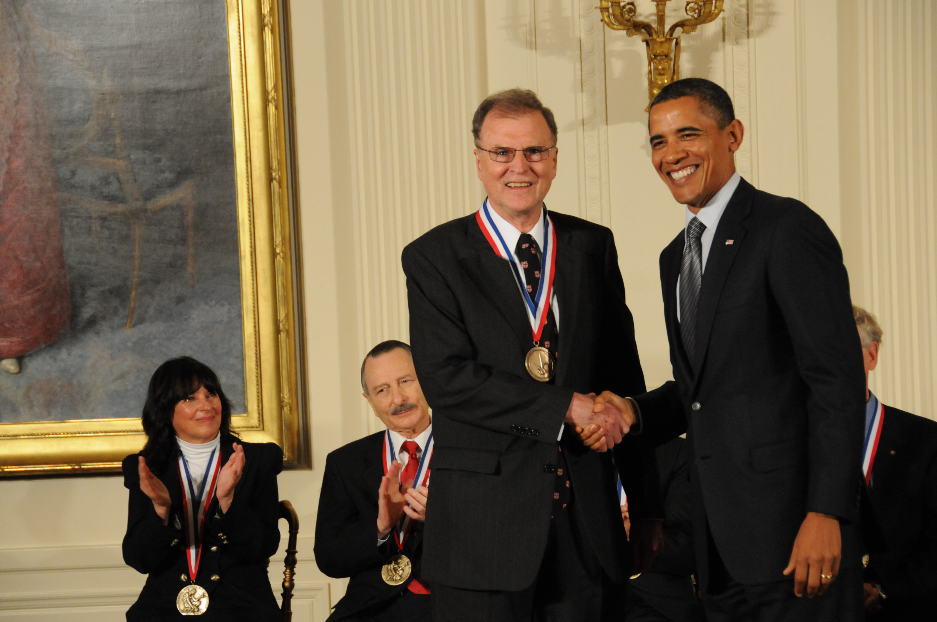 Michael Tompsett receives medal from President Obama