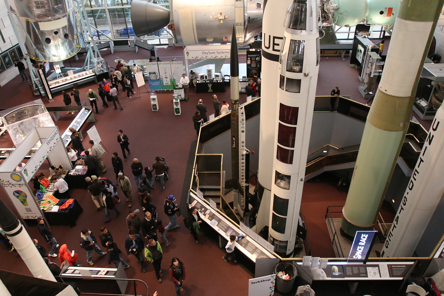 Overhead shot of 2014 innovation festival at Air and Space Museum