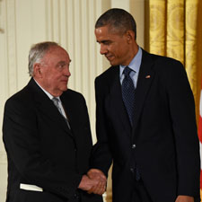Thomas J. Fogarty shakes hands with President Barack Obama