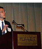 Photo showing closeup of Under Secretary Dudas addressing the American Intellectual Property Law Association.