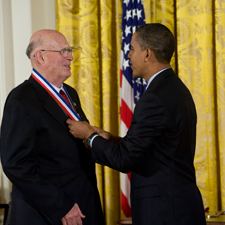 Forrest M. Bird receives medal from President Barack Obama