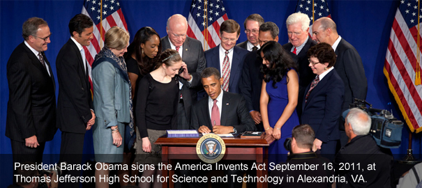 President Barack Obama signs the America Invents Act September 16, 2011, at Thomas Jefferson High School for Science and Technology in Alexandria, VA