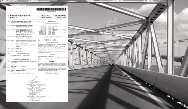 Front page of a recently issued patent superimposed on a bridge scene