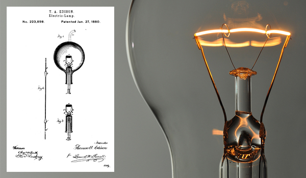 "Thomas Edison, who was hard of hearing, holds over 1,000 U.S. Patents, including U.S. 223,898 for his ""Electric Lamp."""