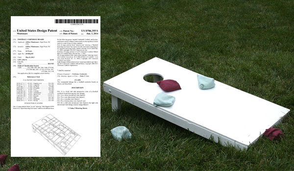 Popular for tailgating during football season, Design Patent No. 706,355 granted to Jeffrey Monenare for his football cornhole board