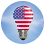 light bulb with the American flag superimposed over the bulb