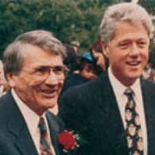 George Levitt poses with President Bill Clinton