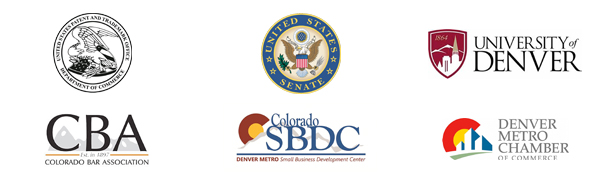 United States Patent and Trademark Office seal, United States Senate seal, University of Denver logo, Colorado Bar Association logo, Denver Metro Small Buisness Development Center logo, Denver Metro Chamber of Commerce logo.