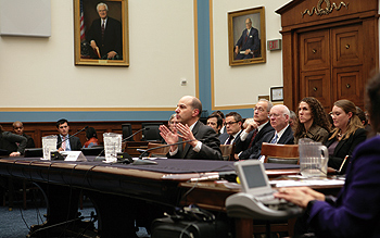 Photo showing Under Secretary Kappos testifying at a House Subcommittee Hearing on Intellectual Property, Competition, and the Internet on Capitol Hill, January 25, 2011.
