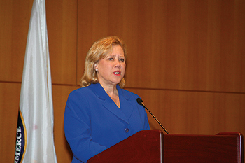 Photo showing Senator Mary Landrieu of Louisiana speaking at the USPTO's Women's Entrepreneurship Symposium March 11, 2011, in Alexandria, Virginia.