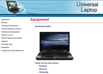 Photo showing the USPTO's Universal Laptop intranet site.