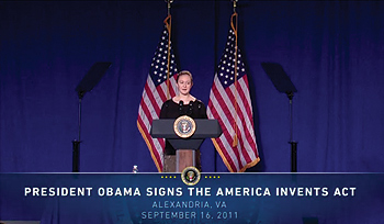 Photo showing student and inventor Rebecca Hyndman introducing President Barack Obama to the stage at Thomas Jefferson High School for Science and Technology September 16, 2011, in Alexandria, Virginia, before he signed the Leahy-Smith America Invents Act (AIA) into law.
