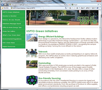 Photo showing the Green at the USPTO intranet site.