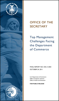 Image showing the cover of the Office of Inspector General's report on the Top Management Challenges Facing the Department of Commerce including the U.S. Patent and Trademark Office.