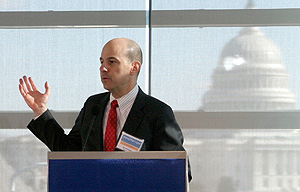 Photo showing Under Secretary Kappos speaking at the Innovation Alliance Conference January 21, 2011, in Washington, D.C.