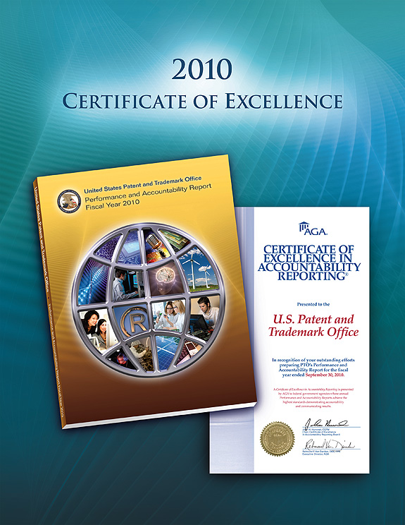 Photo showing the 2010 Certificate of Excellence in Accountability Reporting (CEAR) award presented to USPTO for its Fiscal Year 2010 Performance and Accountability Report.