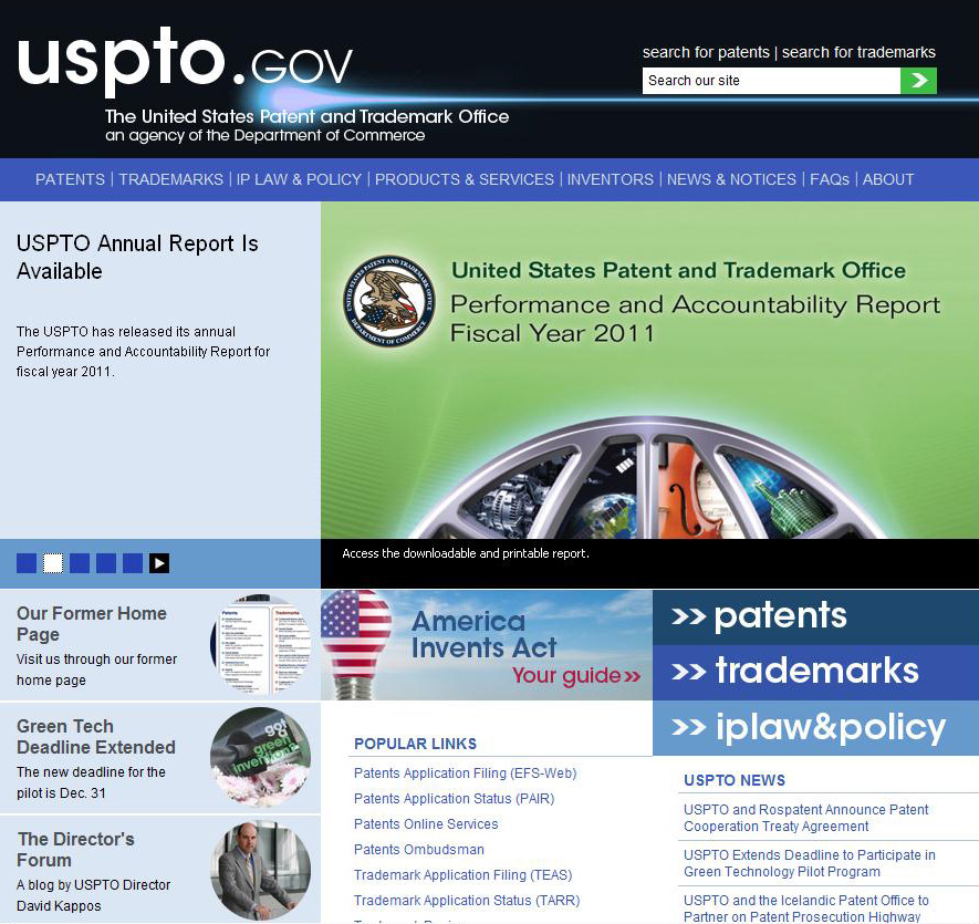 Section of new USPTO home page