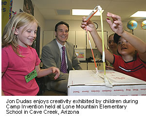 Jon Dudas enjoys creativity exhibited by children during Camp Invention held at Lone Mountain Elementary School in Cave Creek, Arizona