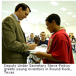 Deputy Under Secretary Steve Pinkos greets young inventors in Round Rock, Texas