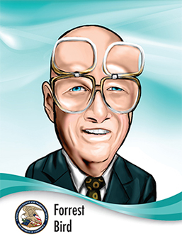 Portrait of Forrest Bird in caricature style wearing his signature flip up glasses