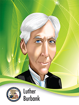 Portrait of Luther Burbank in caricature style