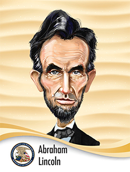 Portrait of Abraham Lincoln in caricature style