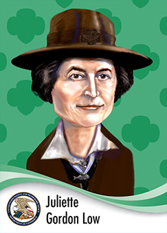 Image of Juliette Gordon Low in caricature form wearing a scout hat