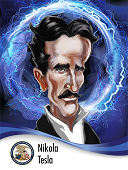 Portrait of Nikola Tesla in caricature style surrounded by lightning