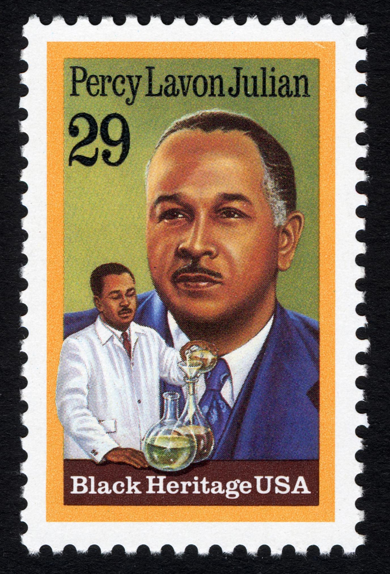 Postage stamp featuring a portrait of Percy Julian and an image of him working with laboratory equipment.