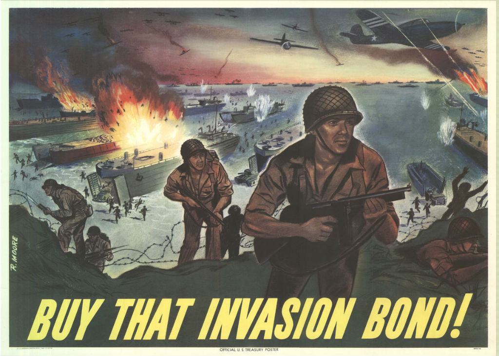 Image: A World War Two war bond poster depicts an amphibious landing, including a Higgins Boat unloading soldiers in the bottom right.