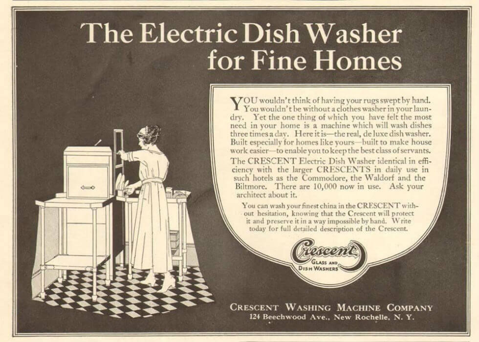 "Image: 1920s advertisement for the Crescent washing machine company shows a maid loading a dishwasher. Text reads: ""The Electric Dishwasher for Fine Homes."""