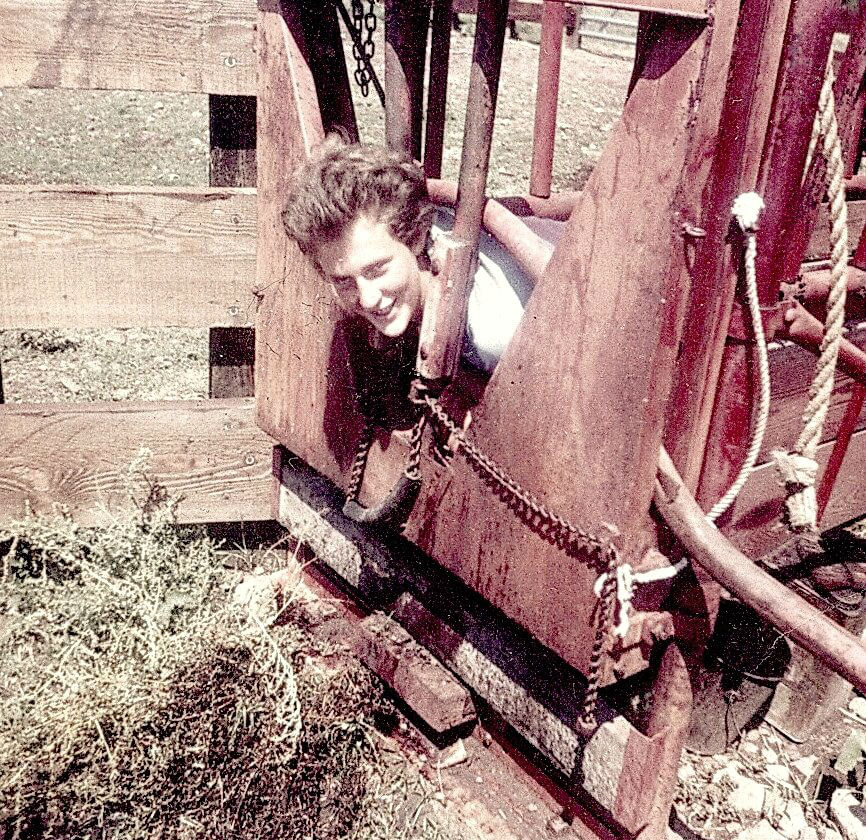"Image: Grandin poses in a cattle squeeze chute which became the model for her ""hug box"" for calming people with autism, like herself."