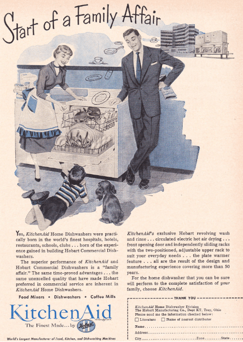 Image: 1950s KitchenAid advertisement promotes the dishwasher for home use in the foreground, by showing its past performance in larger industrial settings like hospitals and hotels, shown in the upper right.