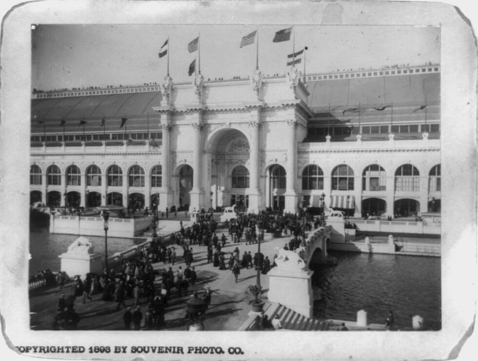 Image: Souvenir photograph of Machinery Hall at the World's Columbian Exposition of 1893.