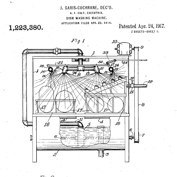 Image: Cochran's patent for dishwasher improvements, issued posthumously in 1917.