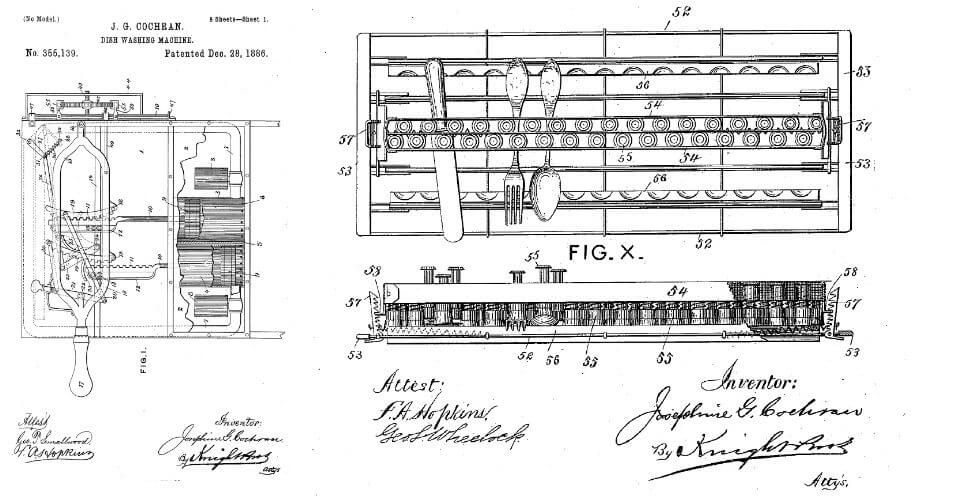 "Image: Cochran's U.S. patent no. 355,139 for a ""dish washing machine"" also included a system for cleaning flatware as well as dishes, as shown in the patent drawing."