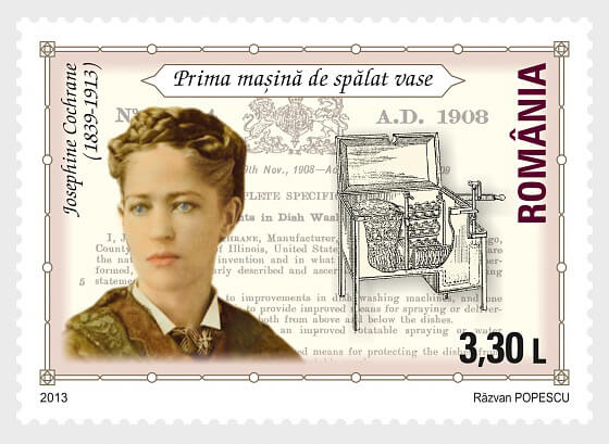 Romanian stamp commemorating Josephine Cochran, depicts Cochran as a young women with a line illustration of her dishwasher.