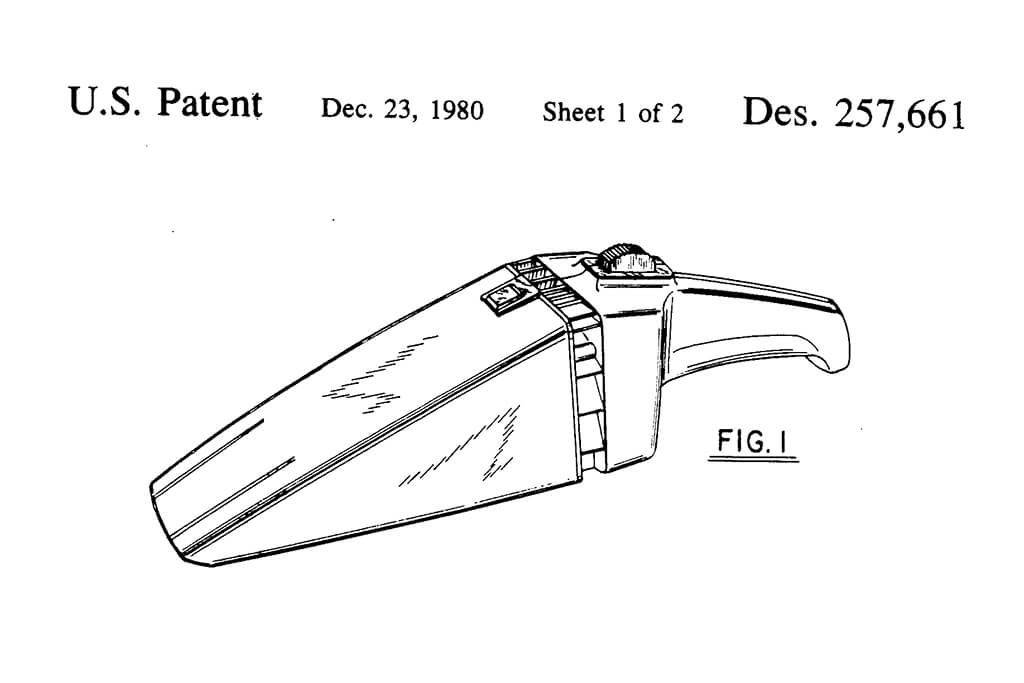 Image: U.S. design patent no. 257,66 showing the device's triangular design