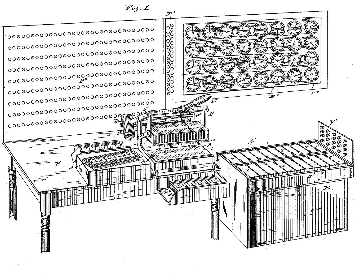 Black and white patent drawing of the Hollerith card puncher, tabulator, and sorting box