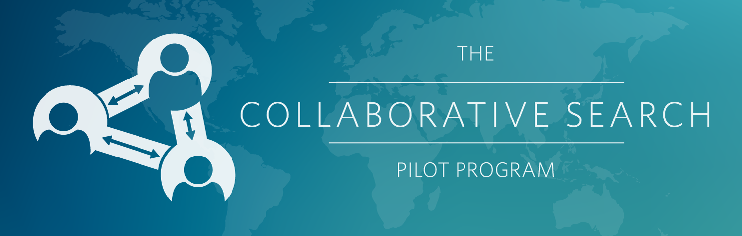 Logo for the Collaborative Search Program Pilot on a thin blue banner with the world map faded in the background.